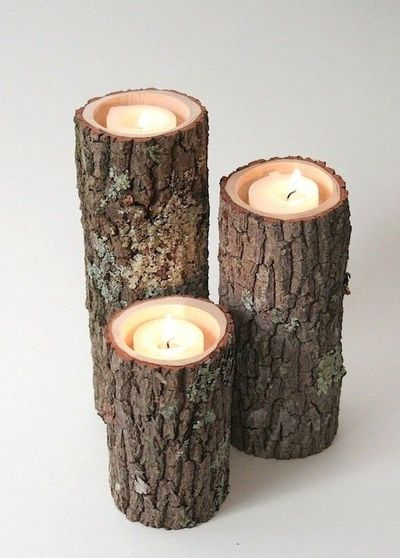 Tree Branch Candle Holders I Rustic Wood Candle by WorleysLighting,