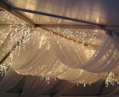 ceiling decor with tulle & string lights / For the future - Juxtapost