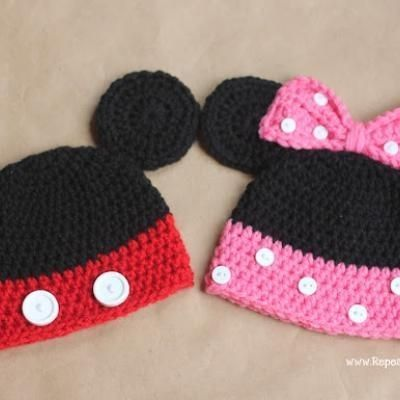 Mickey and Minnie Mouse Crochet Hats {Free Patterns ...