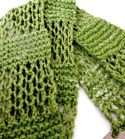 Summer Varigated Green Cotton Hand Knit, Lace Pattern Scarf ... / knits and k...