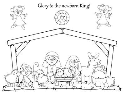 Nativity coloring page preschool items juxtapost for Nativity animals coloring pages