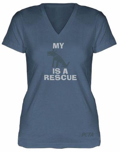 My Dog Is a Rescue Fitted V-Neck T-Shirt, $20.00 #PETA #tshirt