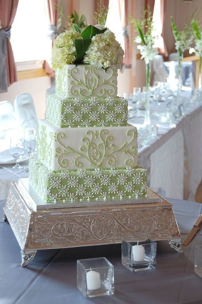 Green White Square Piped Wedding Cake By Charmpastry