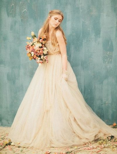 In major love with this Samuelle Couture wedding dress - photo by Three Nails Photography (this is a poofier gown than I generally like, but I love the watercolor quality here.)