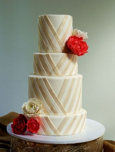 White And Gold Wedding Cake With Red Peonies Wedding Ideas Juxtapost