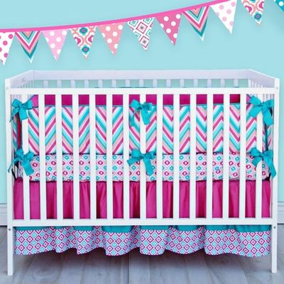 Ikat lila crib bedding set tiffany blue meets hot pink - Hot pink and blue bedding ...