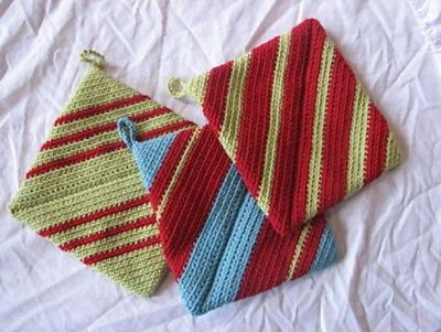 Double Thick Diagonally Crocheted Potholder Pattern By Andre