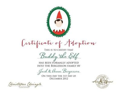 elf adoption certificate template - elf on the shelf adoption certificate printable by