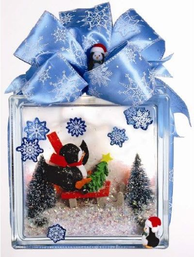 Nicole crafts penguin diorama glass block christmas for Glass block crafts pictures