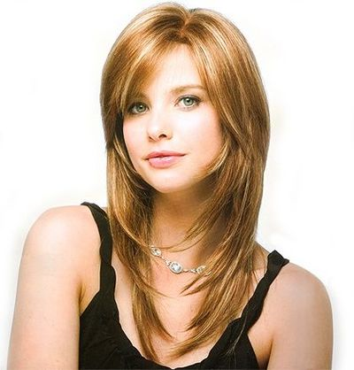 Side Fringe Layered Hairstyle Nice Color And Highlights Str