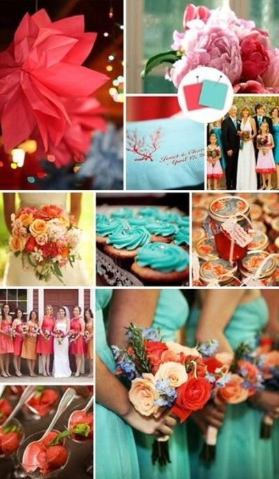 Coral and tiffany blue, some light gray. wedding colors <3