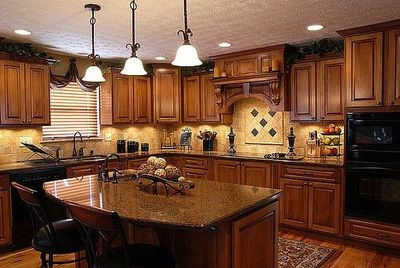 Dark Oak Cabinets With Wood Floors Black Appliances For My Kitchen