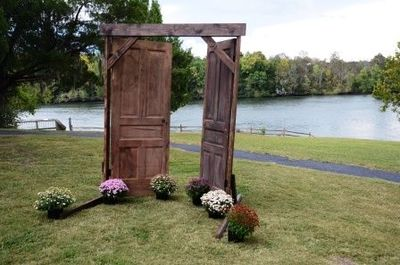 Rustic Doors Used For Altar At Outdoor Park Wedding