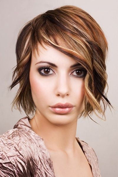 Chin Length Bangs Are A Part Of Layered Hairstyles Long Layers Add | wavy layered chin length cut with side swept bangs hair