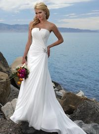 A-line Chiffon Sleeveless bridal gown. Sometimes I think less is more. So classy.