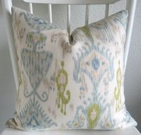 Decorative pillow cover - Throw pillow - Ikat pillow - 20x20 - Robert Allen Khanjali - Ikat - Ivory - Light blue - Green - Designer fabric. $45.00, via Etsy.