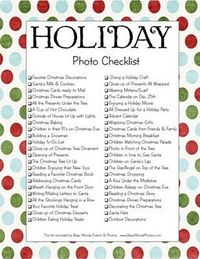 free printable holiday photo checklist