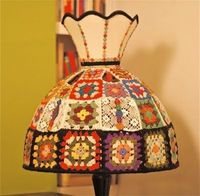 crochet granny square lamp