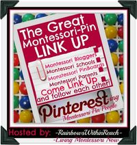 Pinterest Link-Up for Montessori posters - If you're a Montessori teacher, Montessori homeschooler, Montessori-inspired blogger, Montessori parent, or just have Montessori pinboards, please join us in creating a directory of Montessori posters!