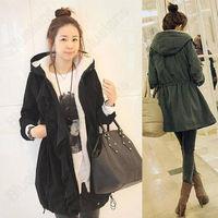 Women Warm Hooded Long Sleeve Zip Fleece Winter Coat Jacket Outwear Parka