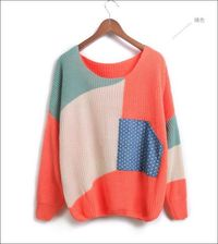 patchwork long sleeve women O-neck pullovers
