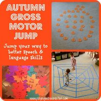 Autumn Gross Motor Jump-incorporating gross motor activities in speech therapy to enhance speech and language skills. From Playing with words 365. - Pinned by