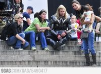 Thor hanging out on set with a bunch of women and a baby. Too cute. :)