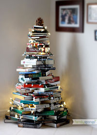 CHRISTMAS TREE MADE FROM BOOKS Photo