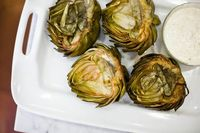 Grilled Artichokes w/Remoulade Sauce (cut down on Balsamic & Soy Sauce to make carbs lower).