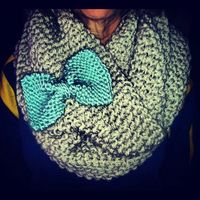 Knit scarf with a bow? Gimmie.