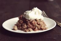 rhubarb crisp with whipped cream