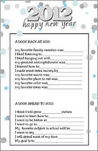 Great for New Year's Eve for the kids to fill out each year...
