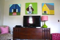 "MY Old Country House: THE TV ""GALLERY"" WALL A bold, colorful option! Love that cabinet!"