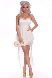White Strapless Spiky Studs High Low Hem Sheer Sexy Party Dress