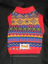 Vest - Red, Dark Blue and Yellow Nordic with Red fleece trim (1 left only)