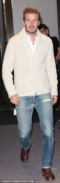 :) shawl collar sweaters, and of course d.becks ..