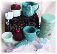 KTBdesigns: Tea and Black Forest Cake, crochet play food