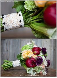 Wedding color inspiration! Eggplant, plum and hints of peach and ivory