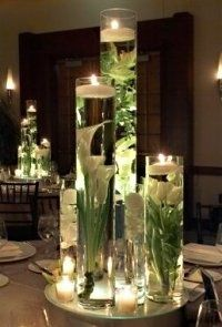 Extra Tall Glass Cylinders with Floating Candles and Calla Lily Flowers
