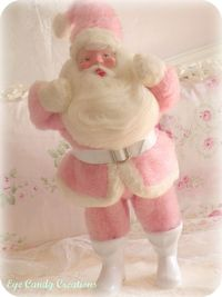 winter...pink and white vintage Santa