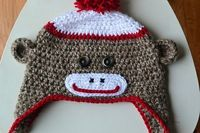 easy to crochet, sock monkey hat