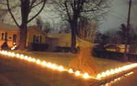 Milk Jug Luminaries. These are just lighted with white lights. I have seen them with colored lights and are gorgeous! They looked like gum-drops lining a walkway/driveway.