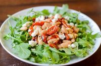 White bean salad with oven-roasted tomatoes and goat cheese
