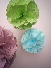 for baby shower- dyed paper doilies