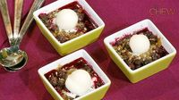 Carla Hall's Blueberry Almond Crisp with Frozen Lemon Yogurt recipe. #thechew