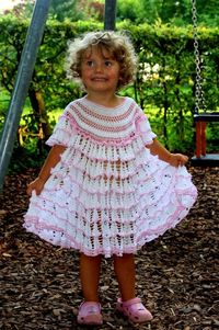 White Cascades Dress for a Little Girl free crochet pattern