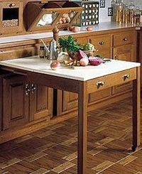Pull-out work table disguised like a kitchen drawer.