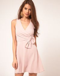 nude wrap dress with bow