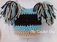Buff Chocolate Blue Crochet Baby Boy Jester Beanie by amydeming1, $14.50