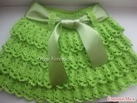 Pretty Green Ruffle Layer Skirt free crochet Russian tutorial